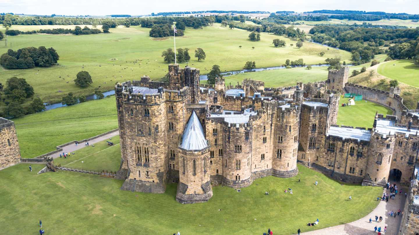 Birds eye view of Alnwick Castle