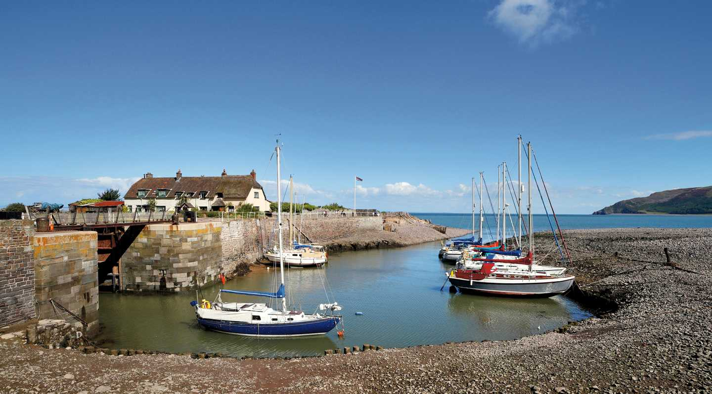 Boats docked at Porlock Weir