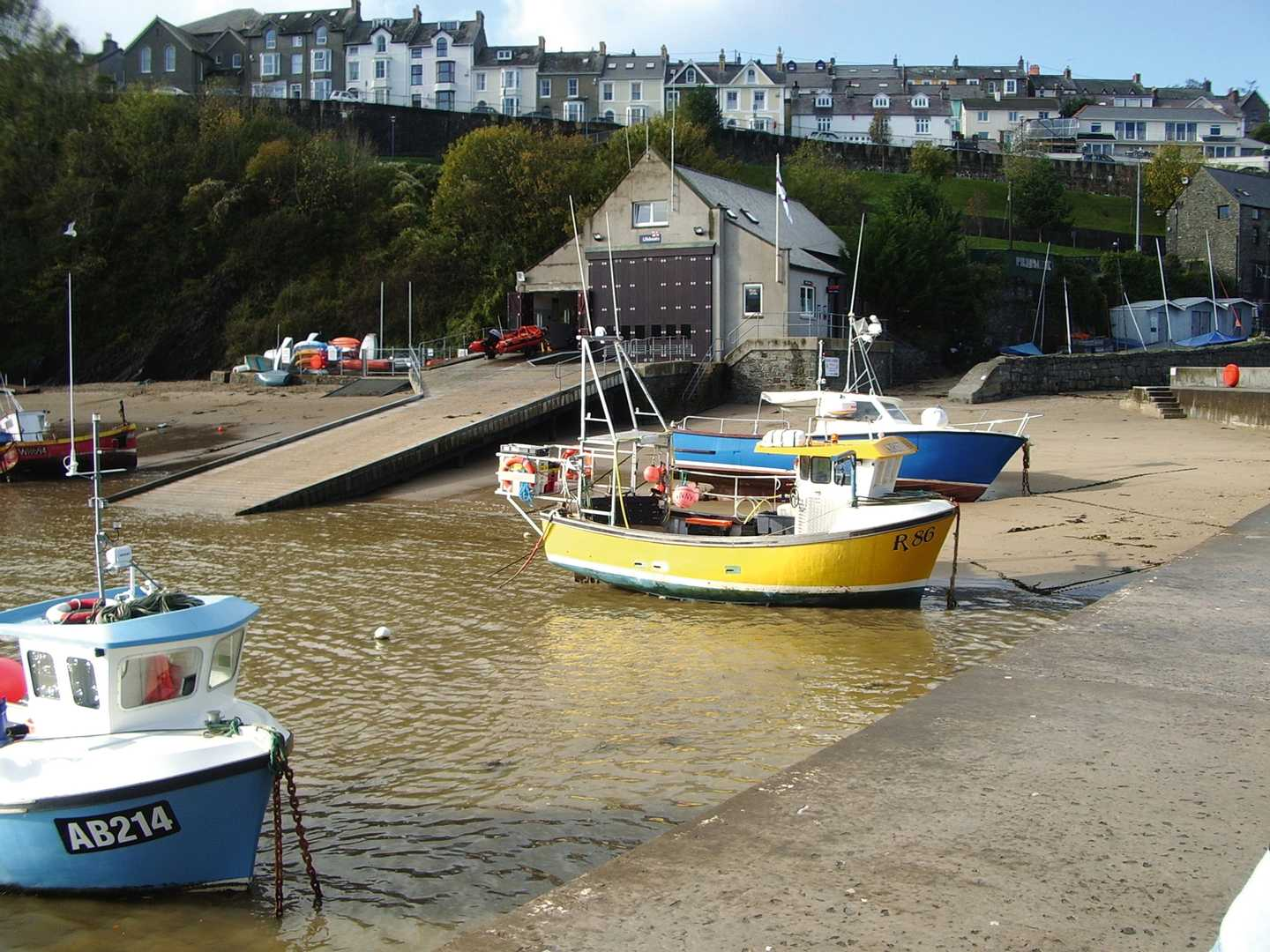 Boats on New Quay harbour