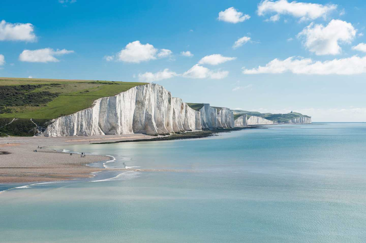 blue sky, chalk cliffs and the sea at Seven Sisters
