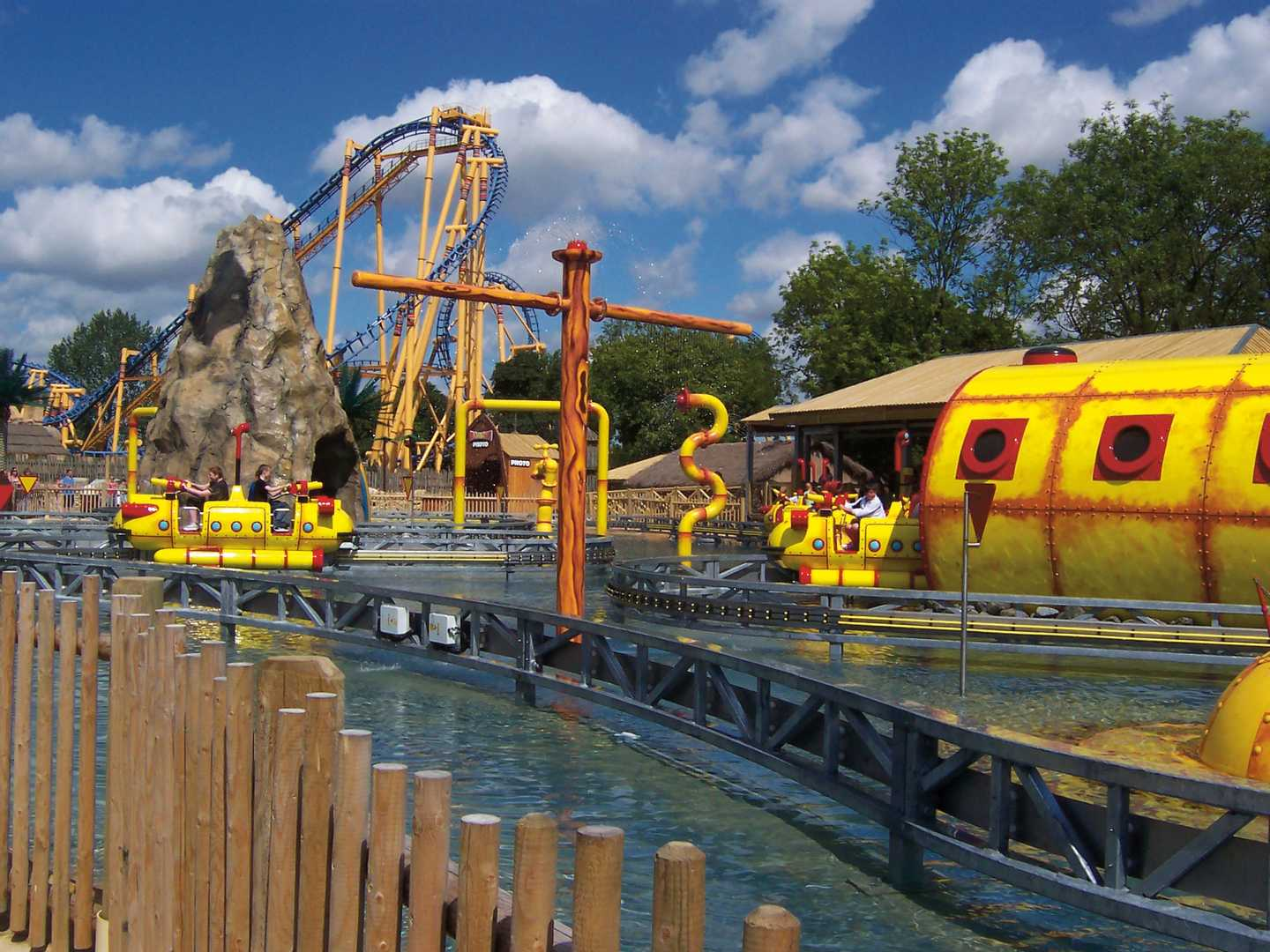 Yellow and red water ride at Flamingo Land
