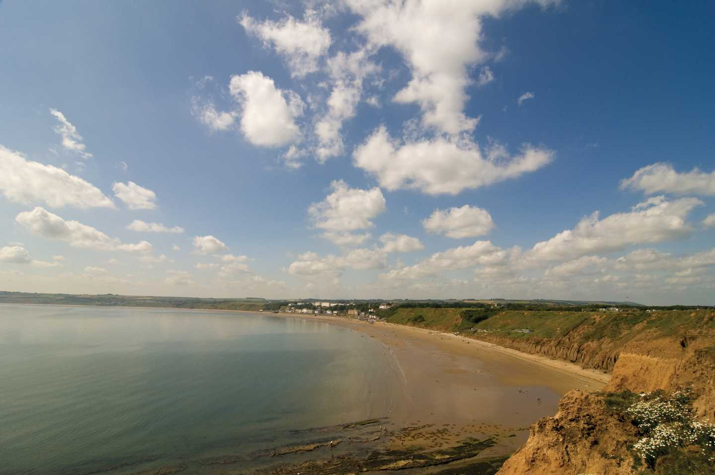 Aerial coastal view of Filey Bay