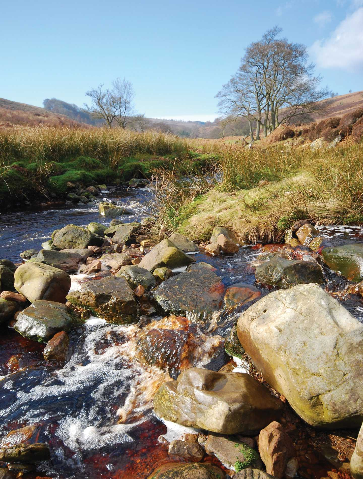 Rocky stream with moors in background