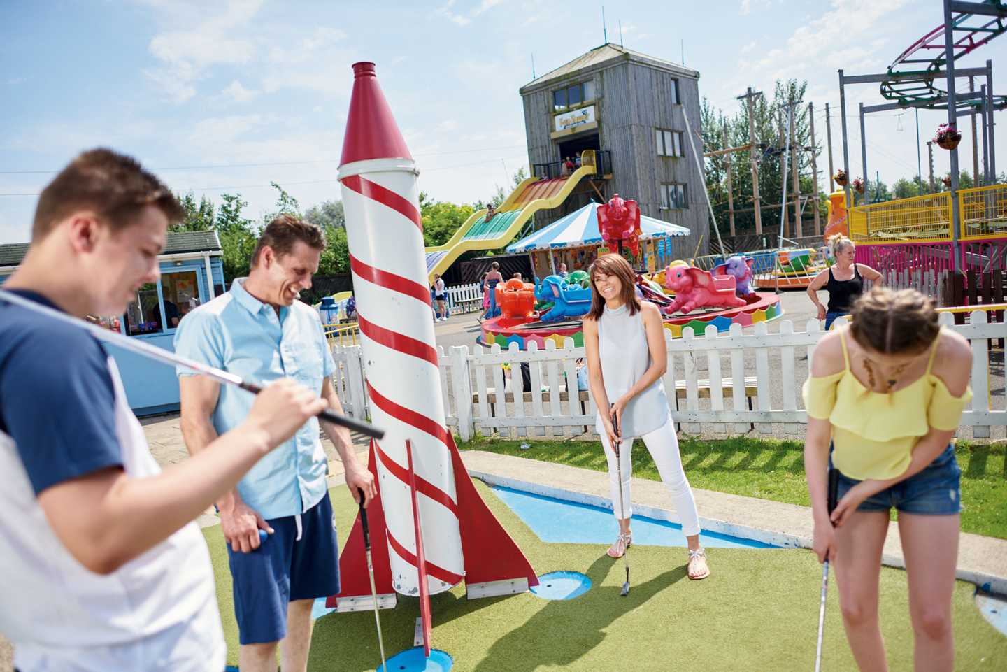 Guests playing a round of crazy golf at Primrose Valley