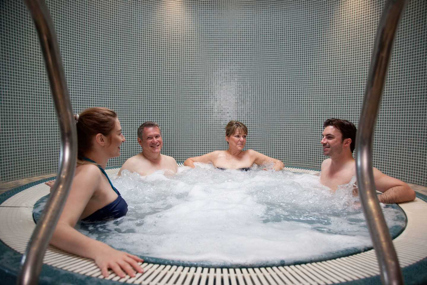 Owners relaxing in the bubble pool