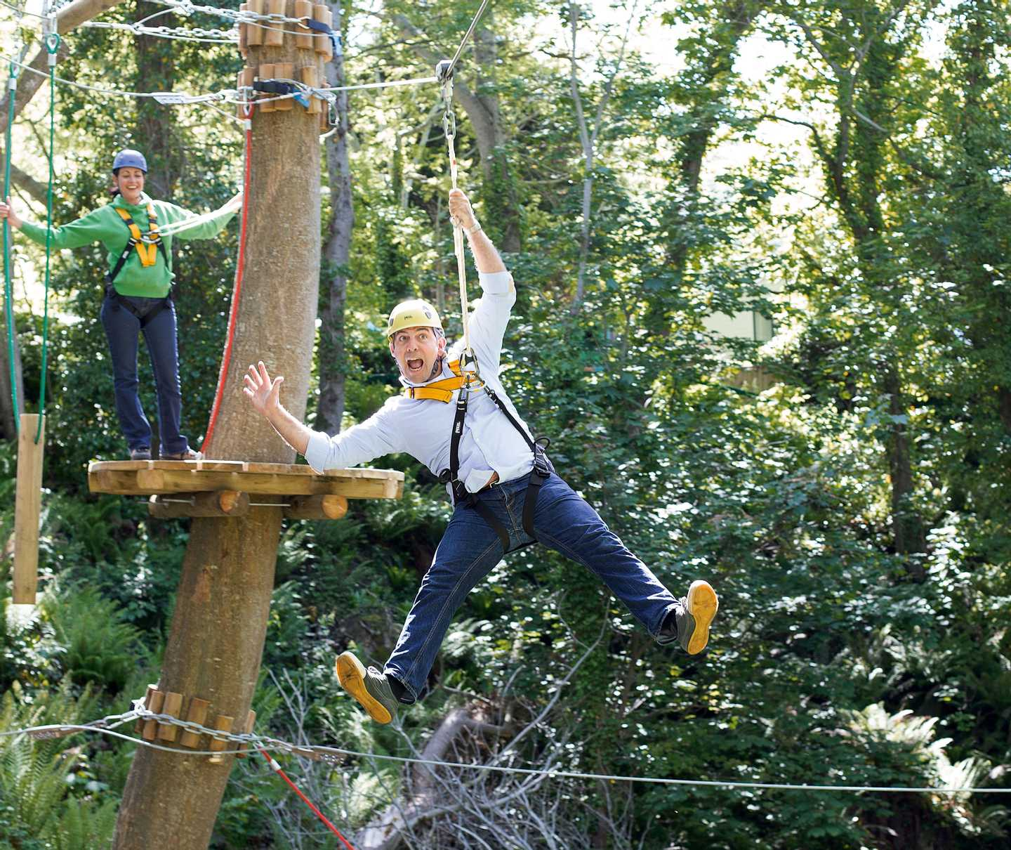 A guest on the ropes course at Quay West