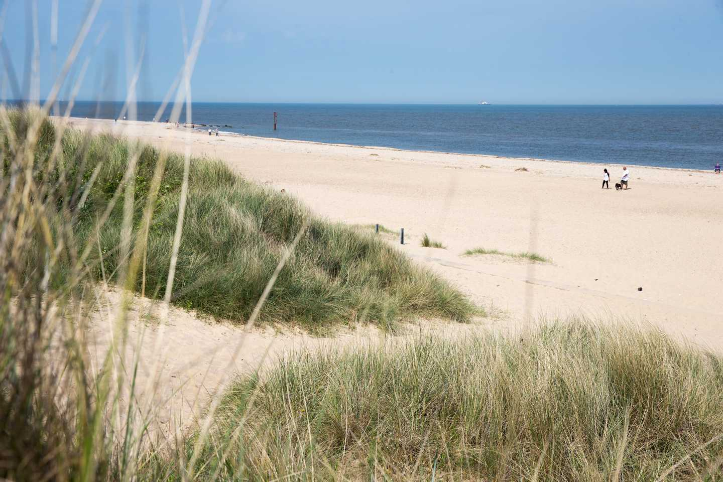 Beach view from Caister-on-Sea Holiday Park