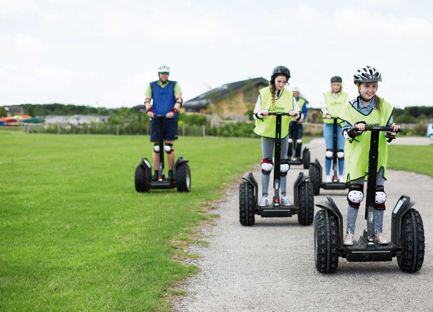 Guests exploring the park on a Segway
