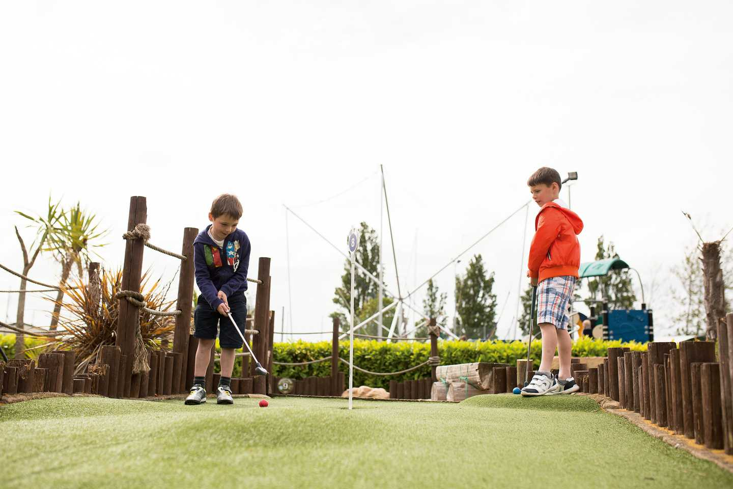 Children playing at the adventure golf course at Rockley Park