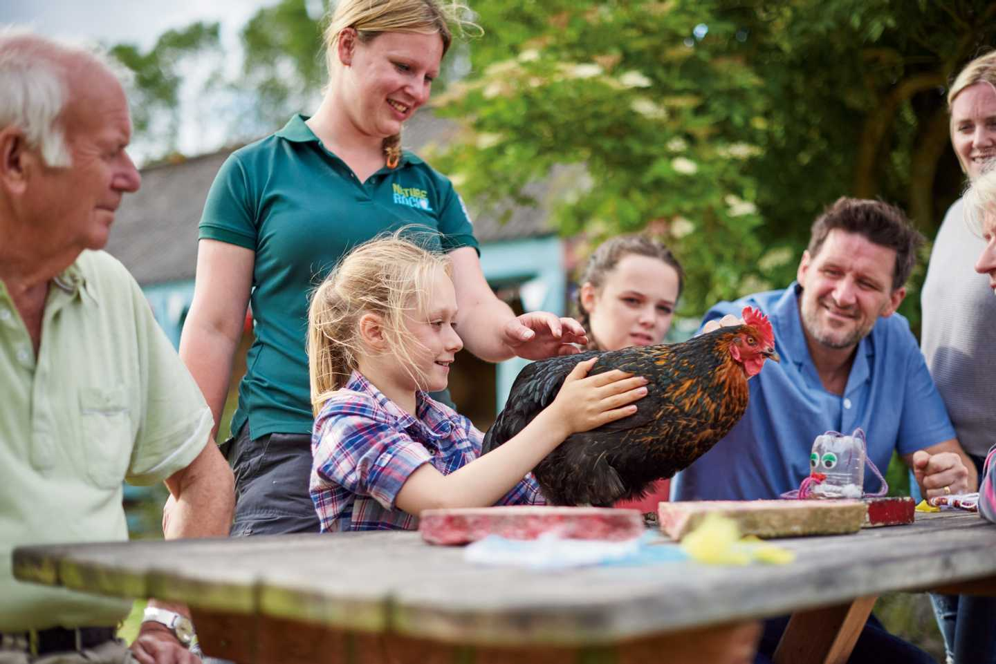 Children petting a chicken at our Nature Rockz animal tracking activity