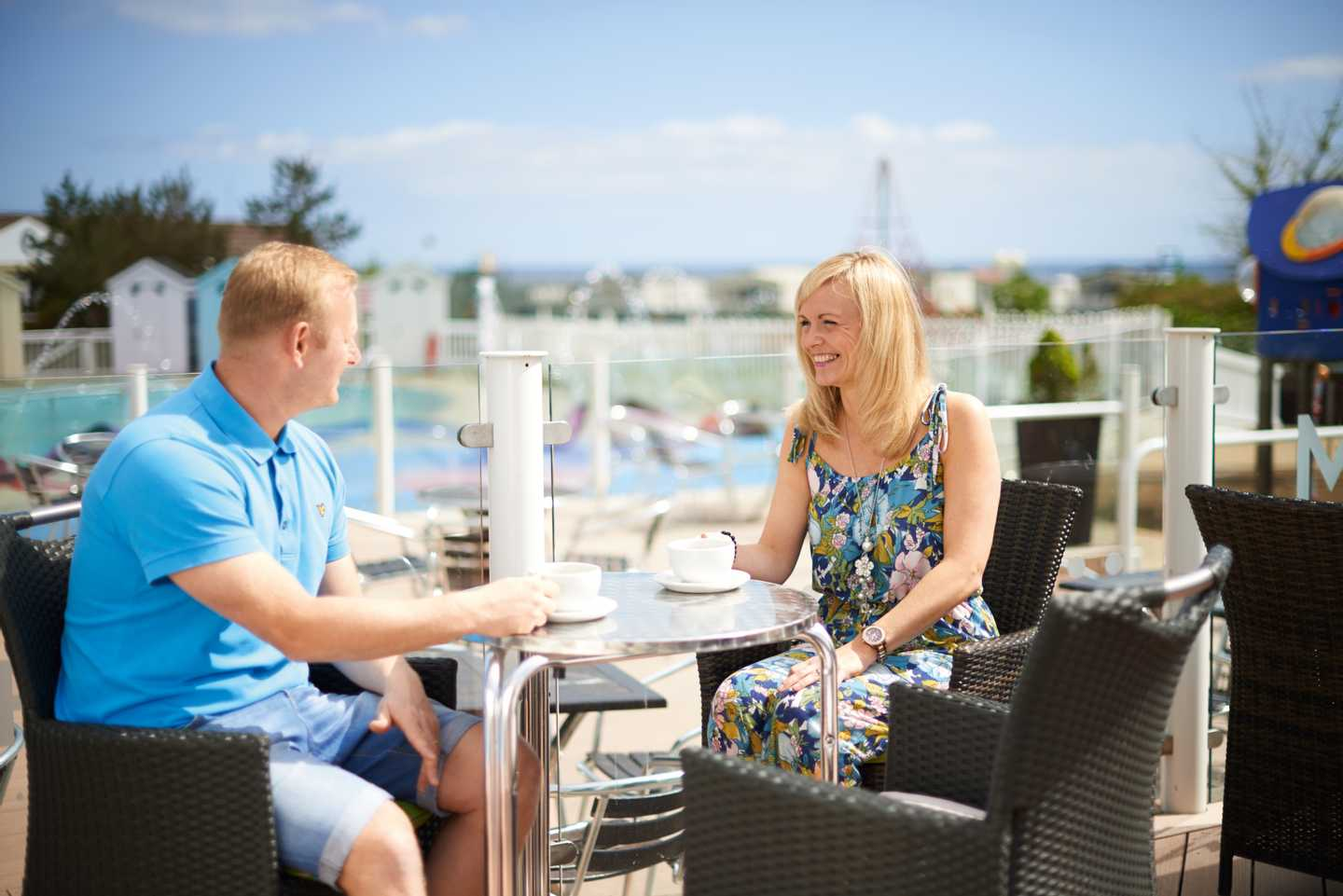 Guests enjoying a drink on the terrace