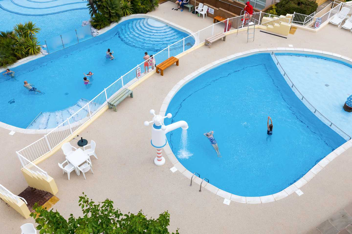 Aerial view of the heated outdoor pool