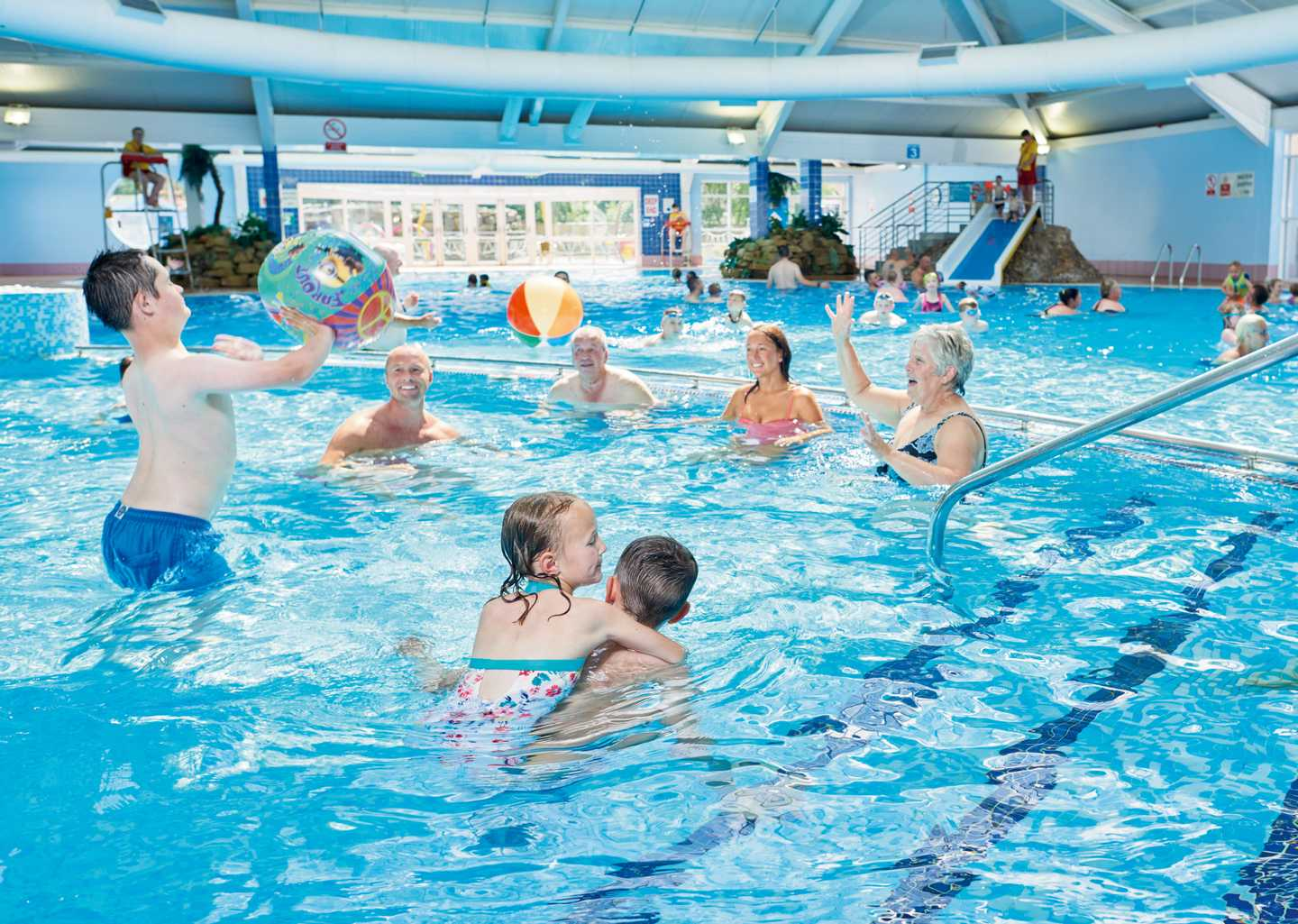 Guests splashing about in the heated indoor pool