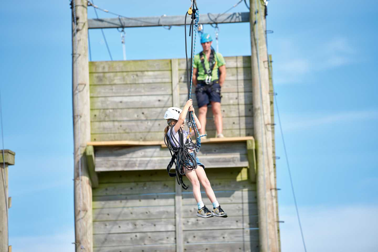 Guests attempting the zip wire