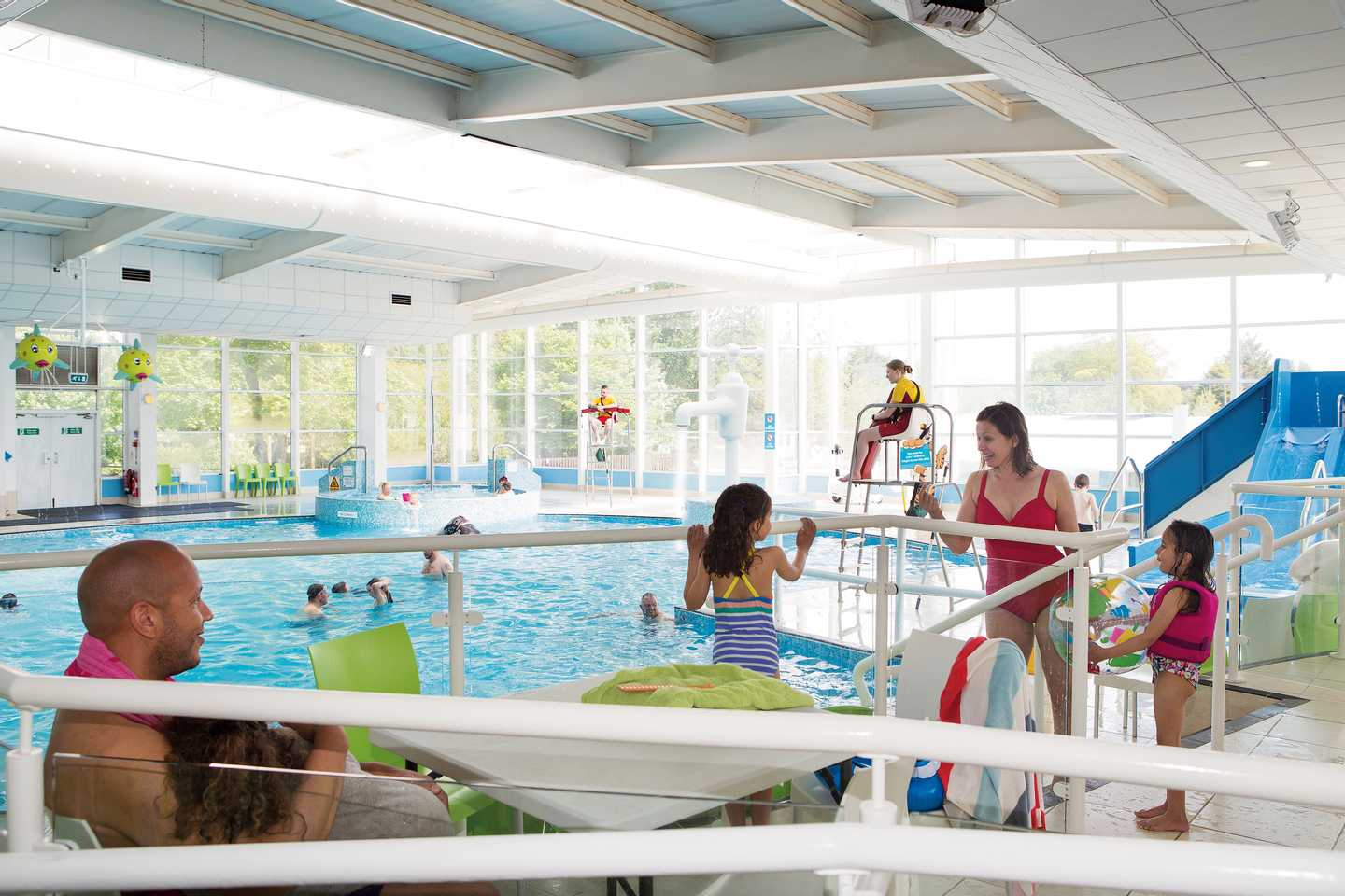 Guests enjoying the heated indoor pool