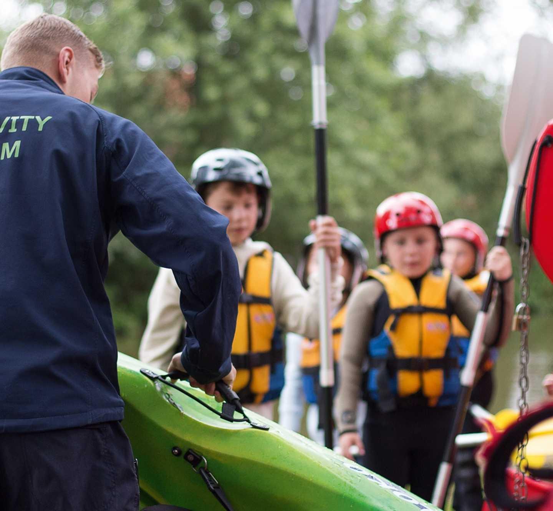 Kids preparing for kayaking