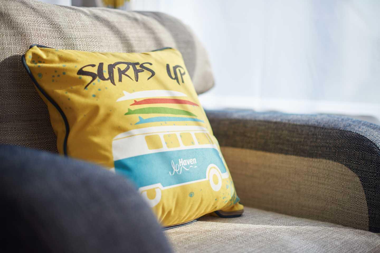 A newer Prestige caravan yellow cushion