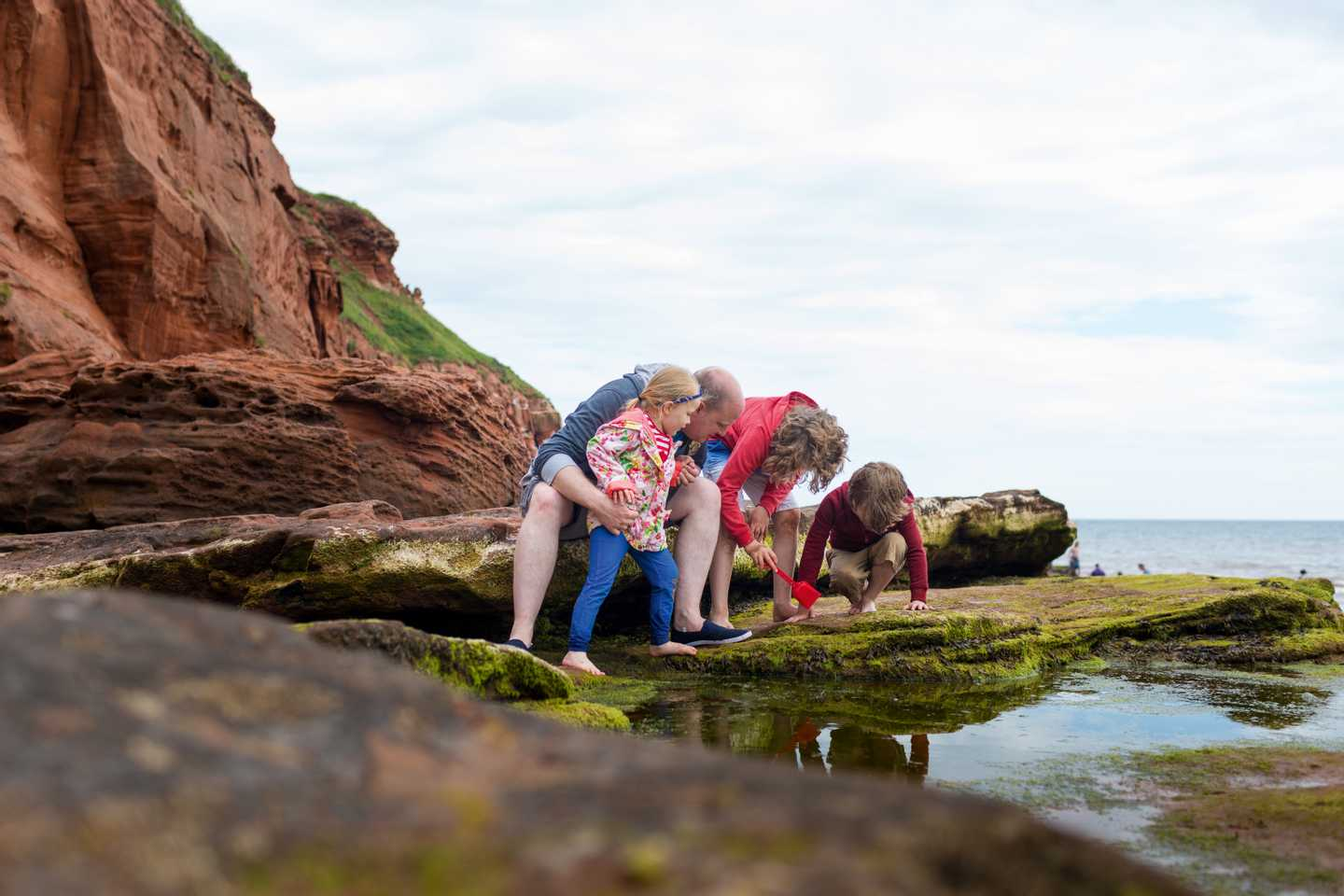 A family rock pooling