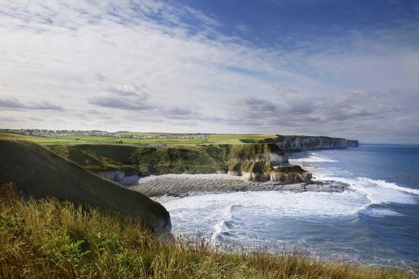 A view of the cliffs and sea at Thornwick Bay, Yorkshire