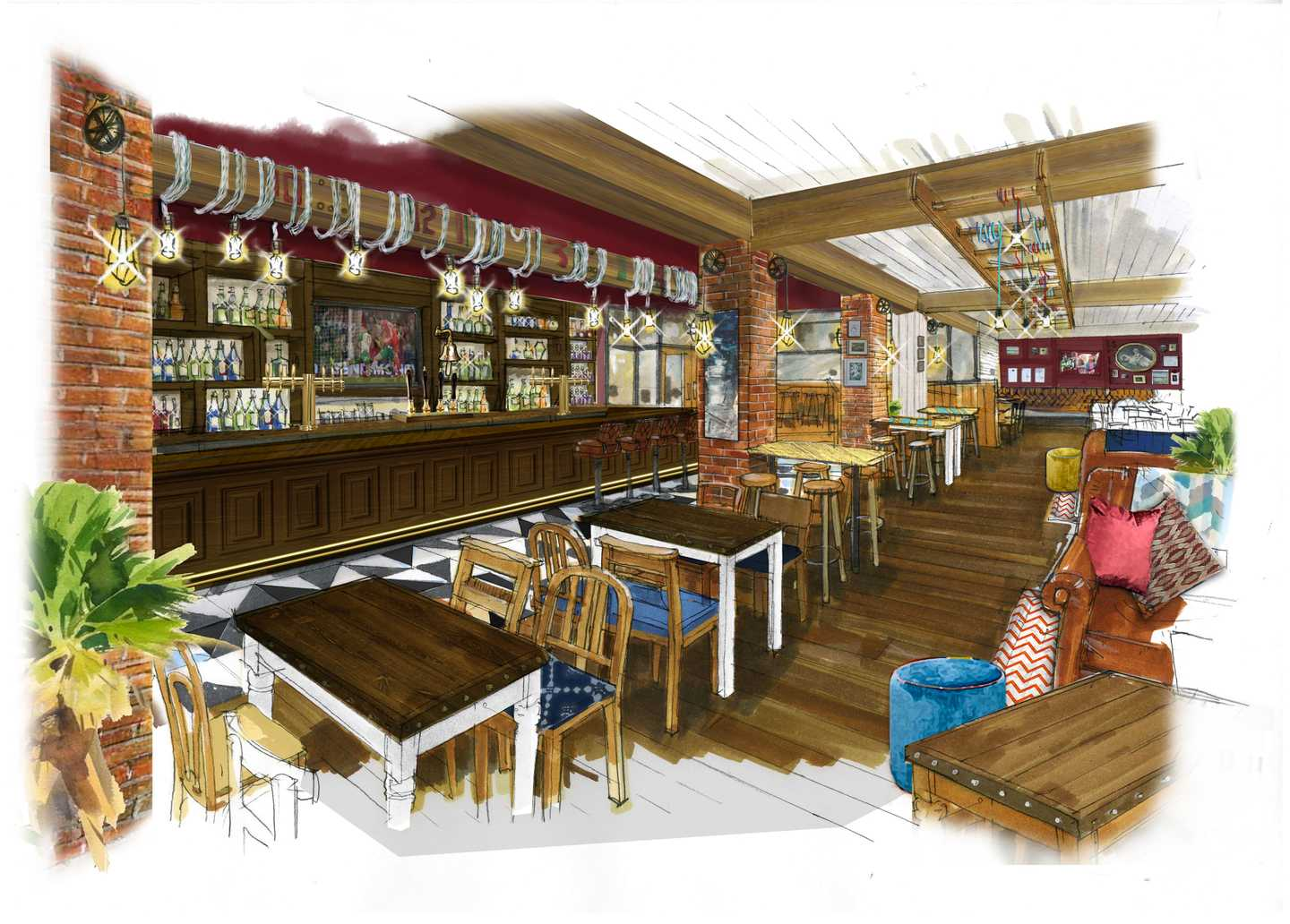 Artist's impression of the HMS Glendower Pub