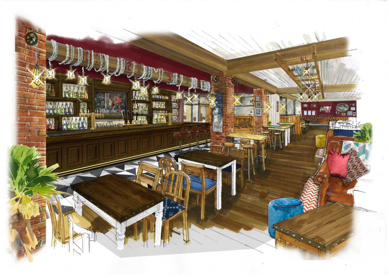 Artist's impression of the HMS Glendower Pub