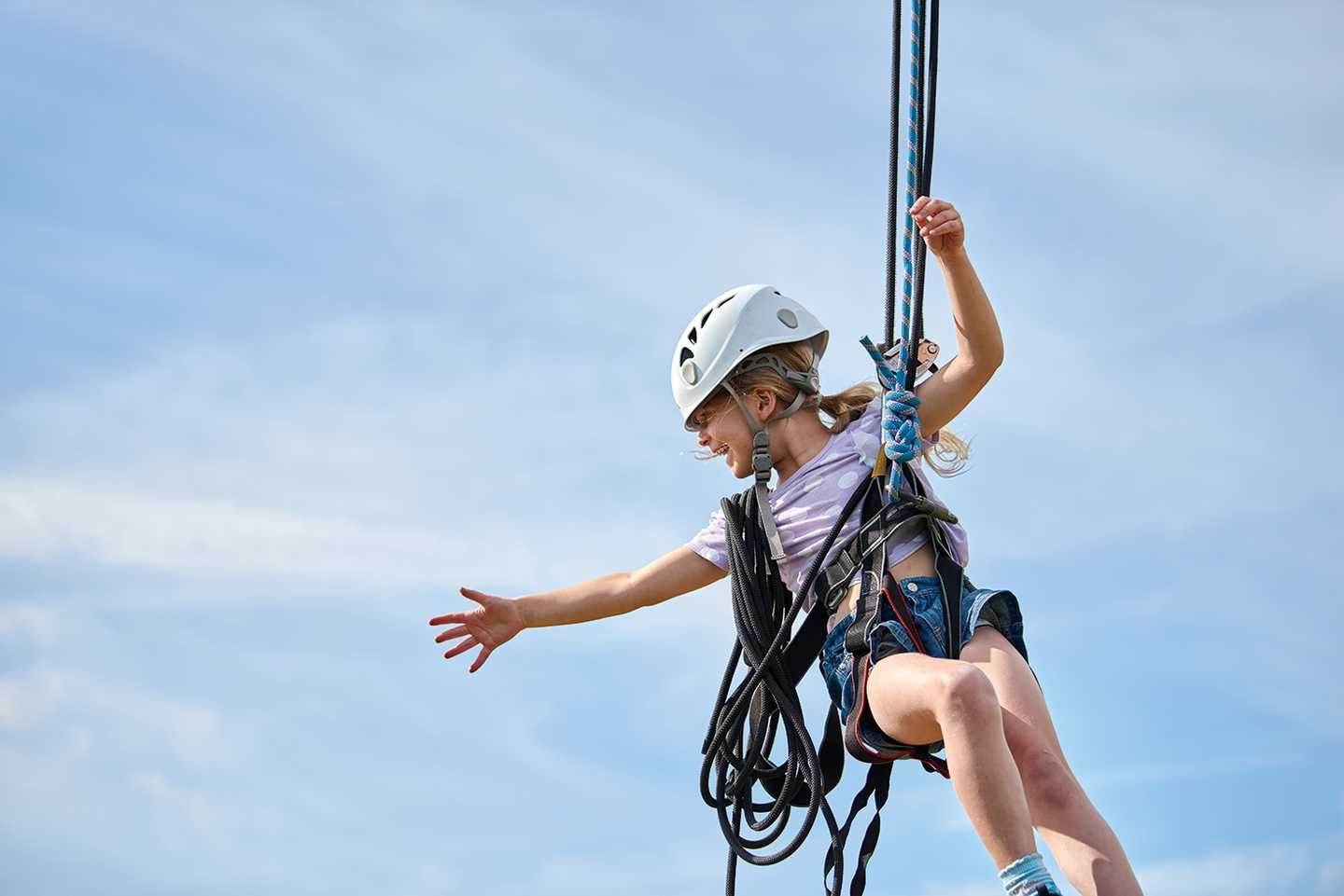 Little girl on the Zip wire