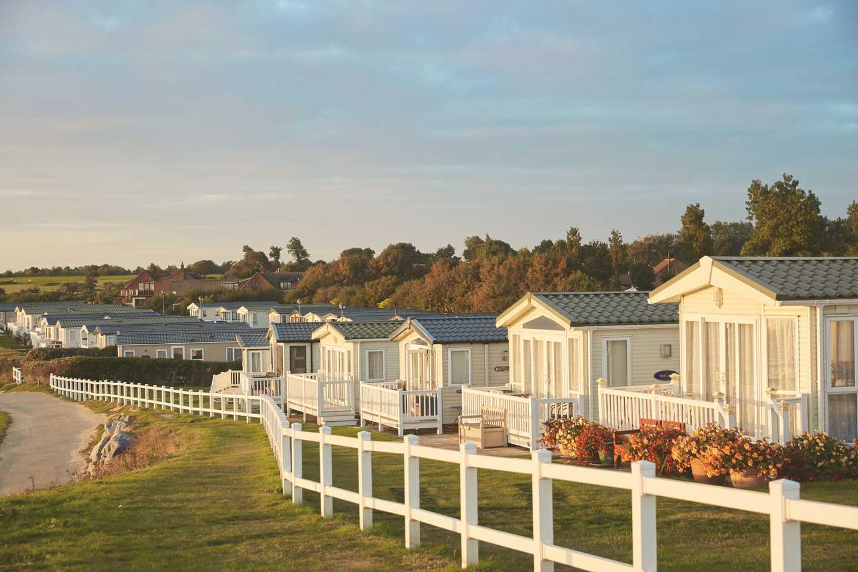 Caravans with a beach view at Hopton