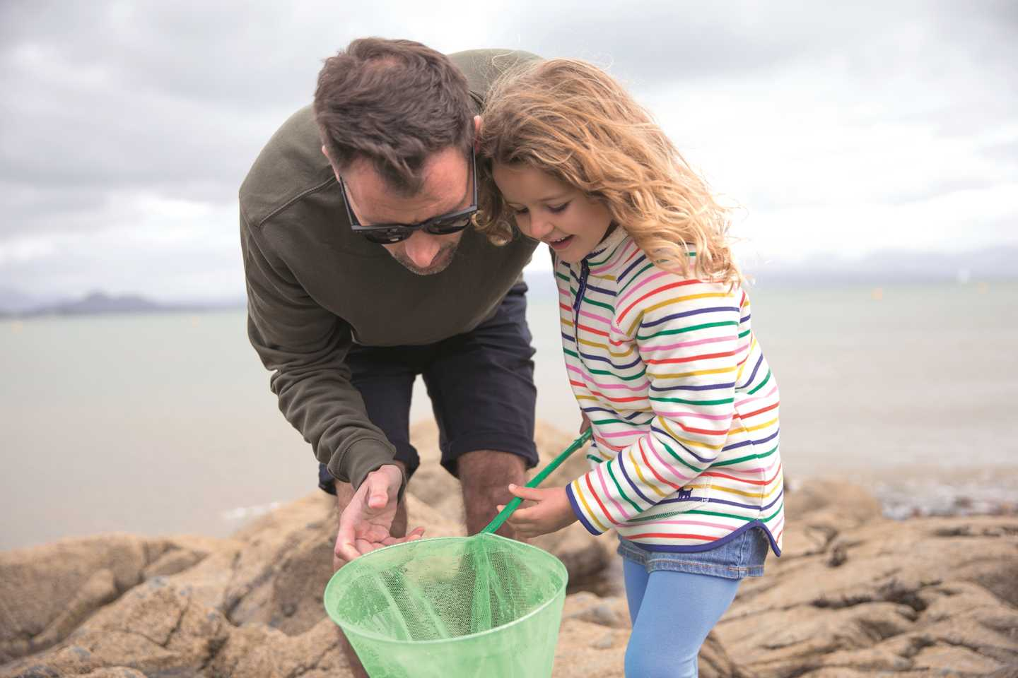 Father and daughter crabbing