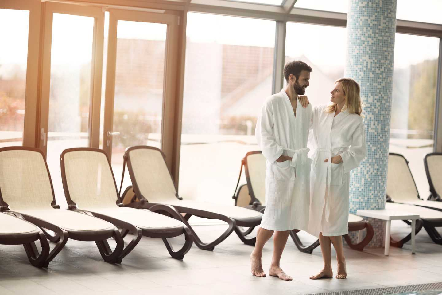 A couple relaxing in the spa