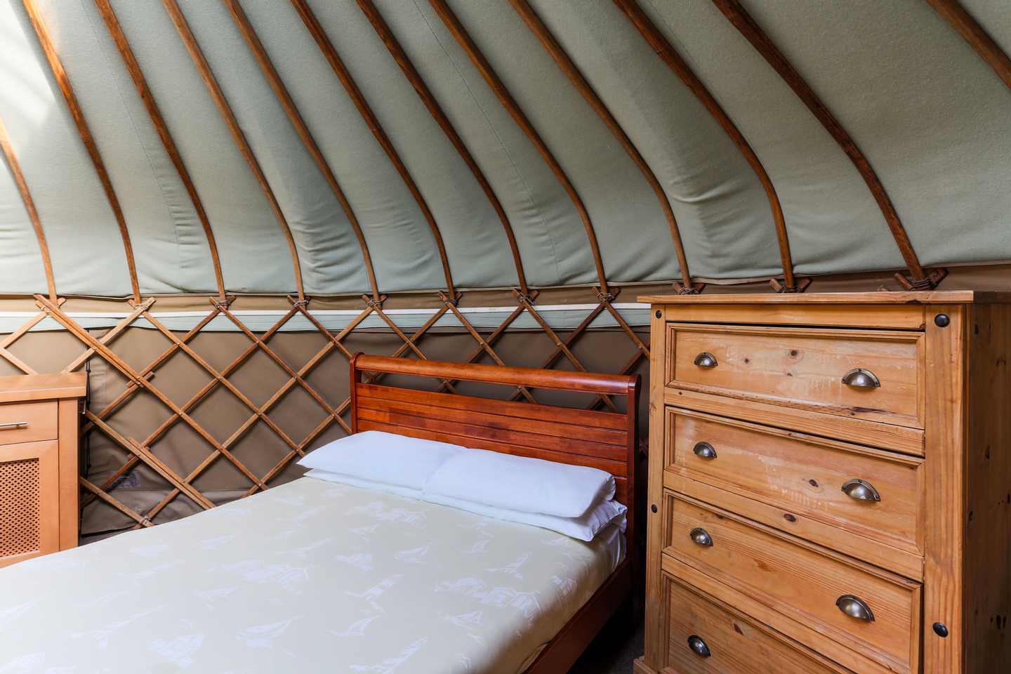 A Yurt with a double bed