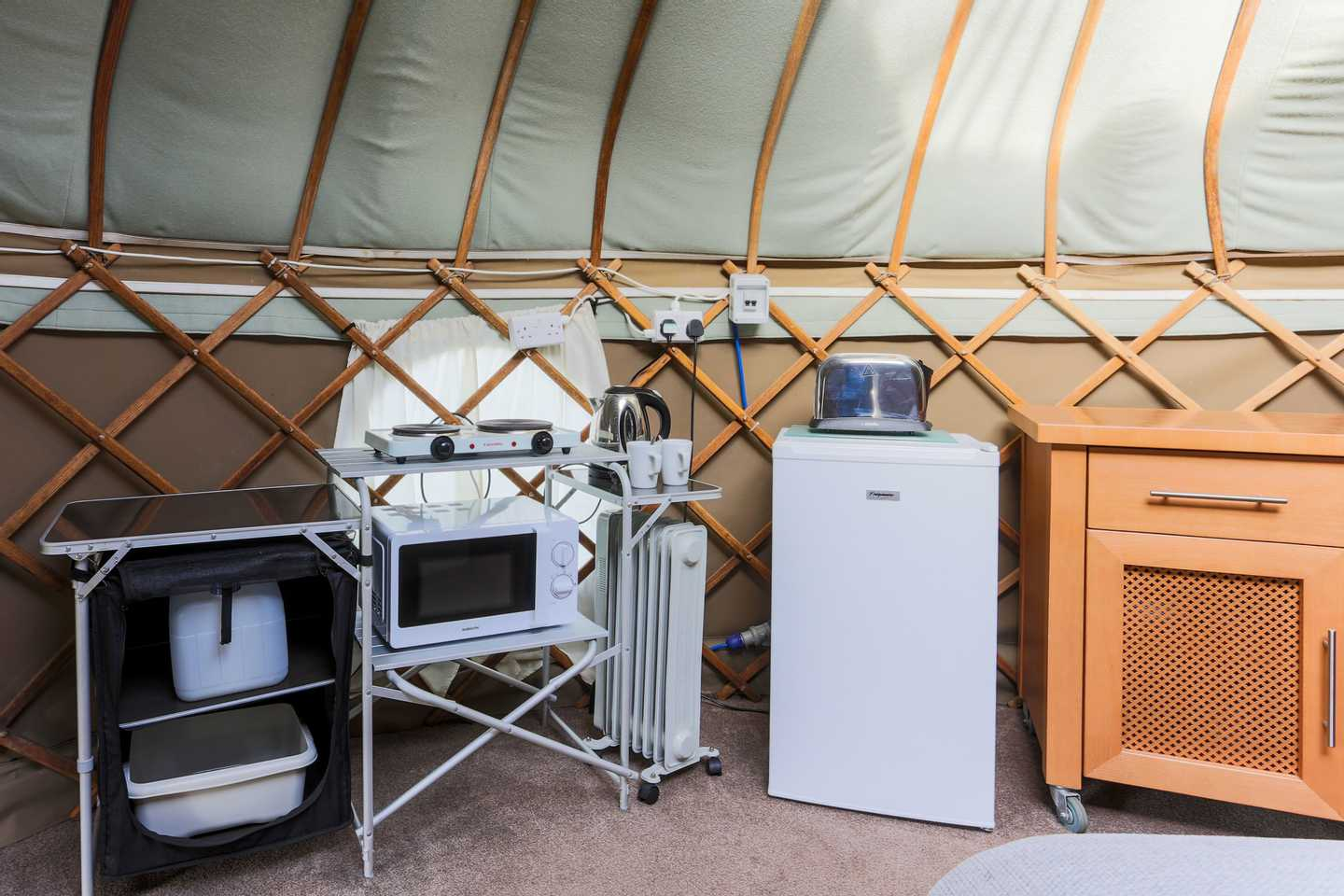 The cooking facilities in a Yurt