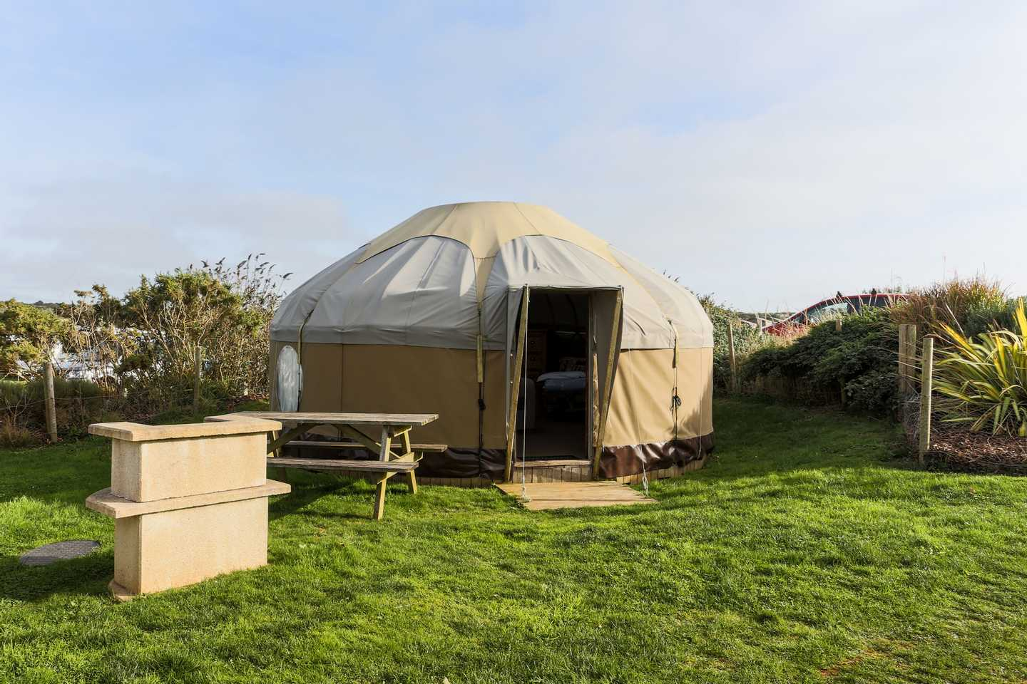 The outside of a Yurt