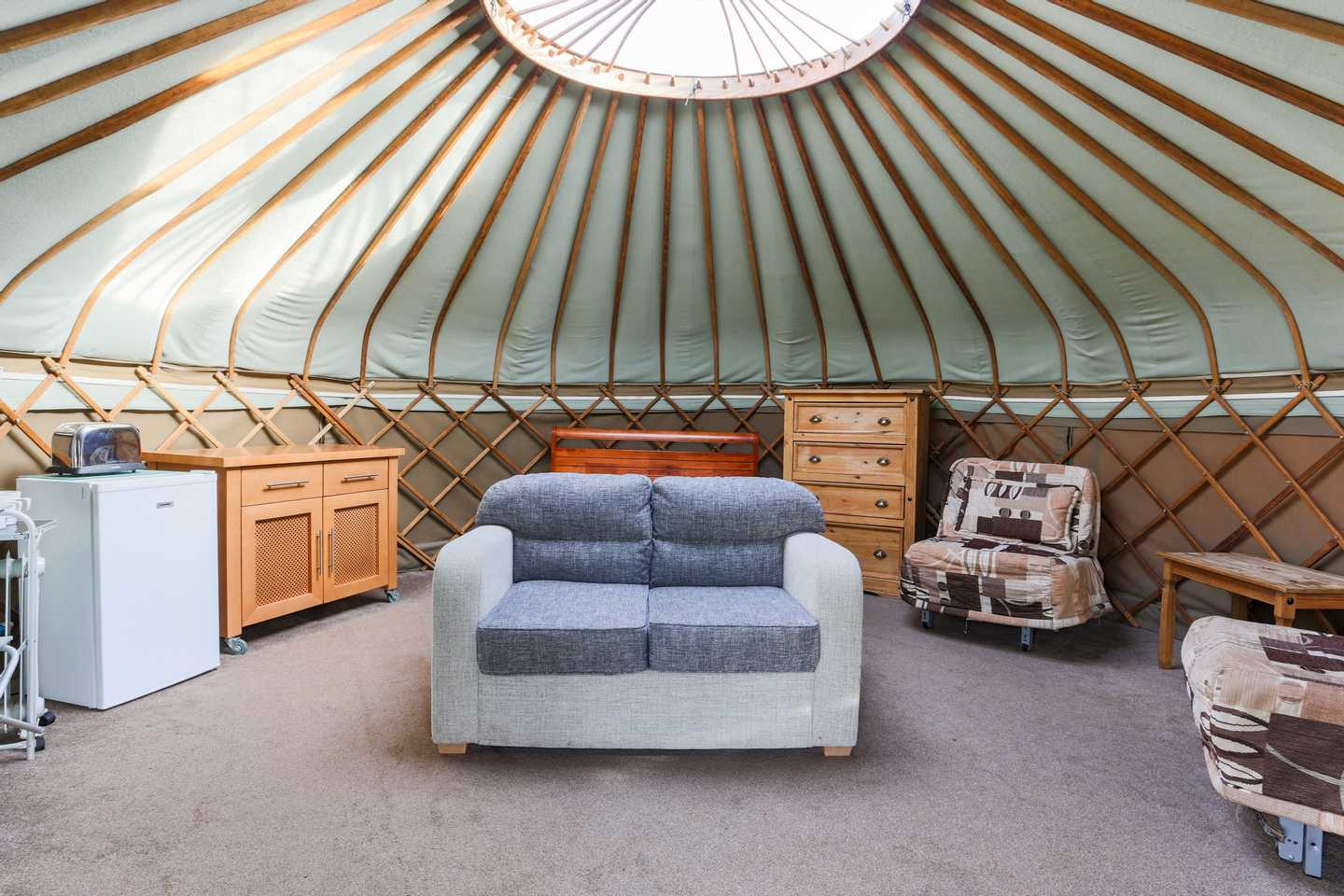 The interior of a Yurt