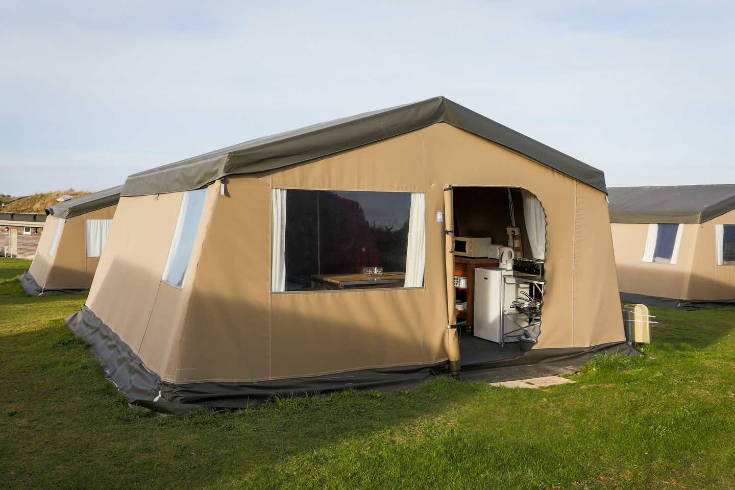 The outside of a Super Tent at Perran Sands