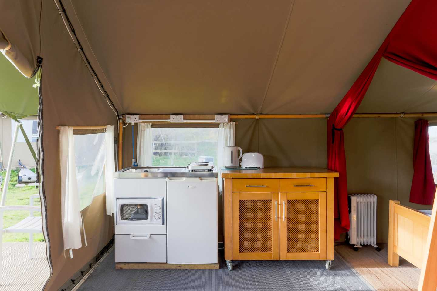 Kitchen with appliances in a Safari Tent