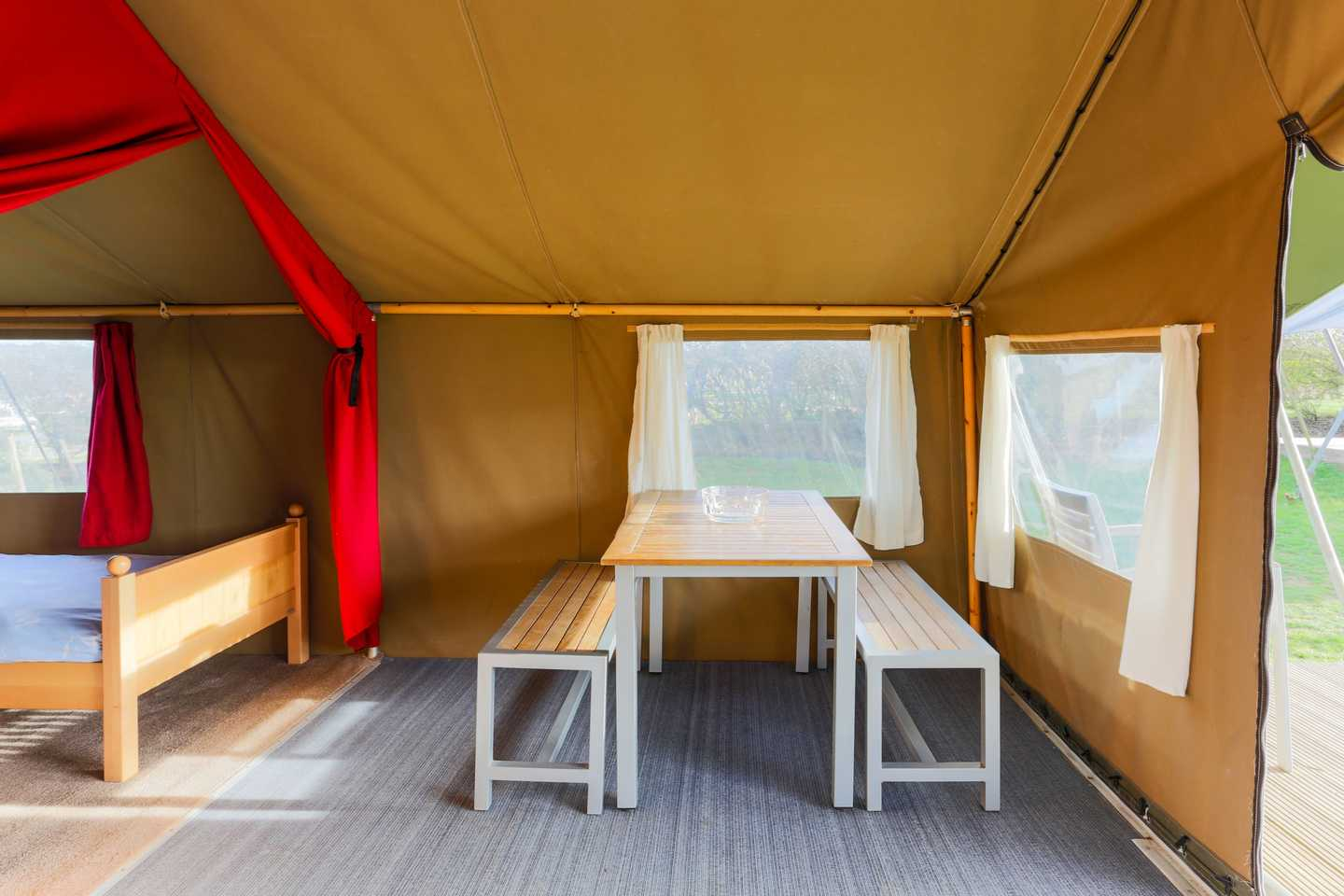 The dining area in a Safari Tent