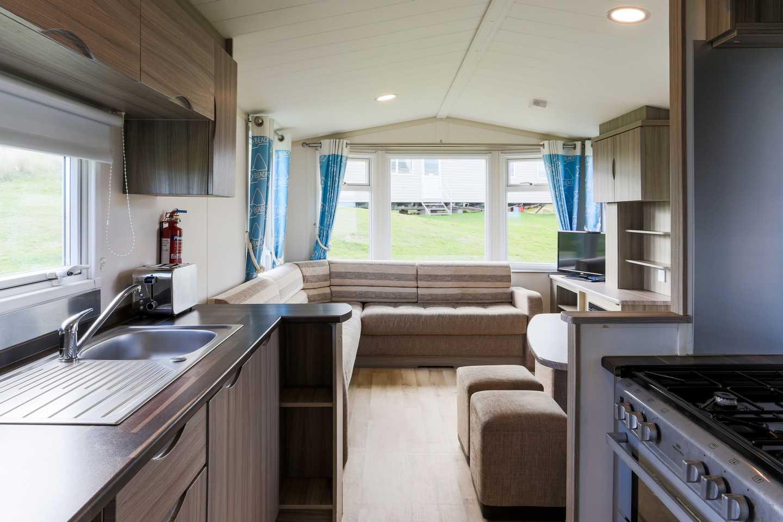 A kitchen in a Standard caravan
