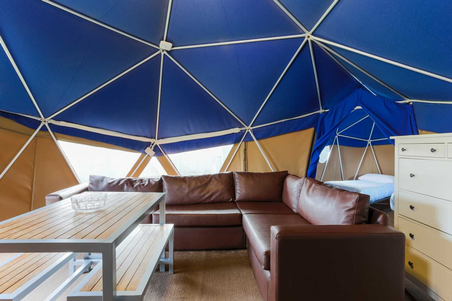 The lounge in a Geo Dome