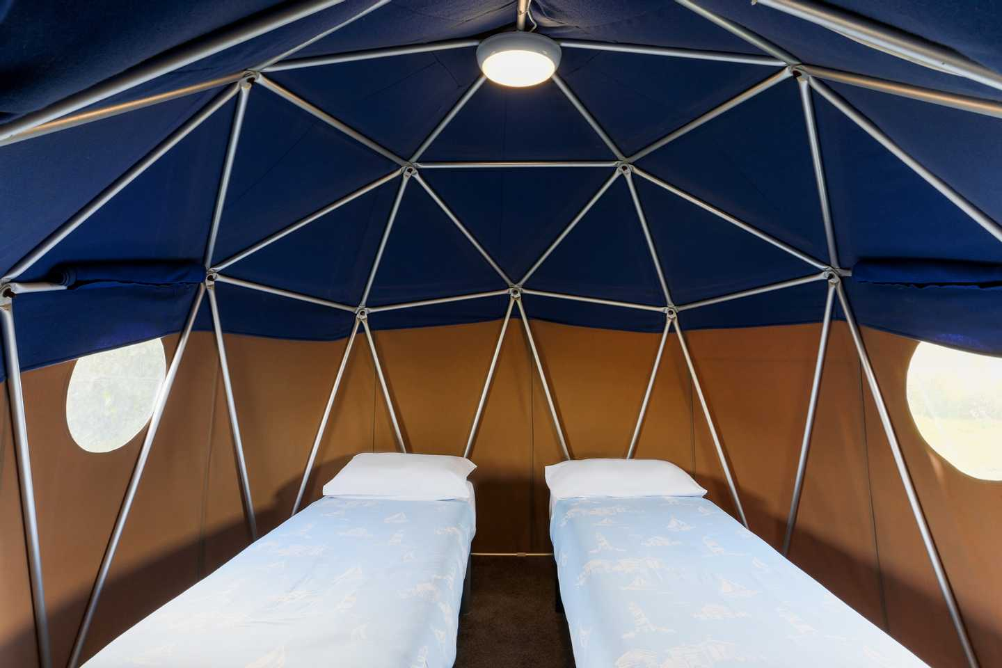 The twin bedroom in a Geo Dome