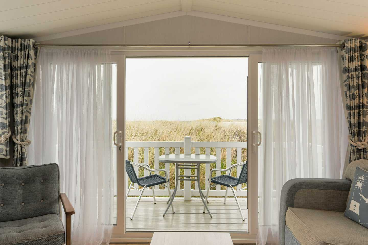 A view of the decking from inside the Platinum caravan