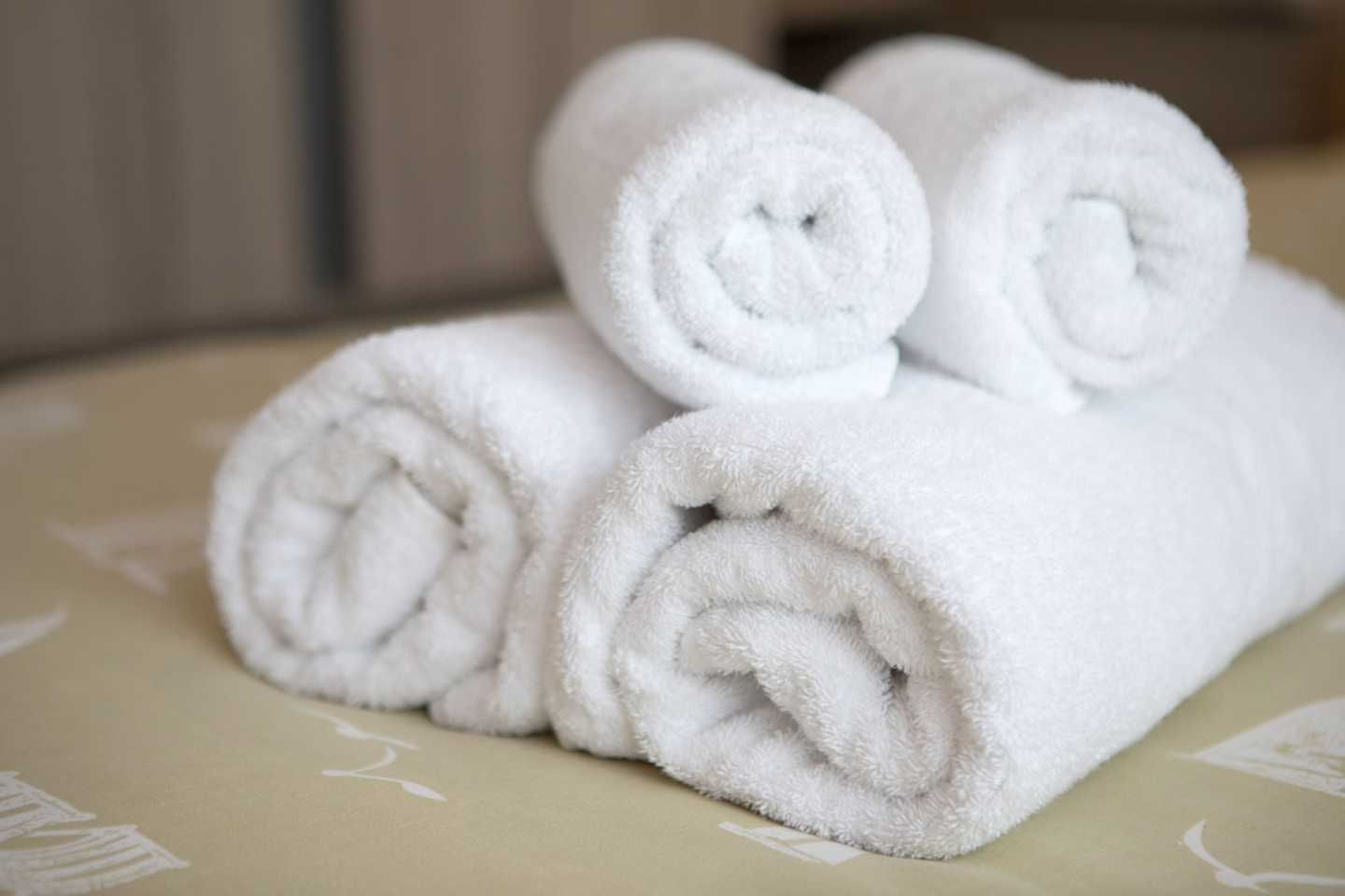 Towel bale on a bed