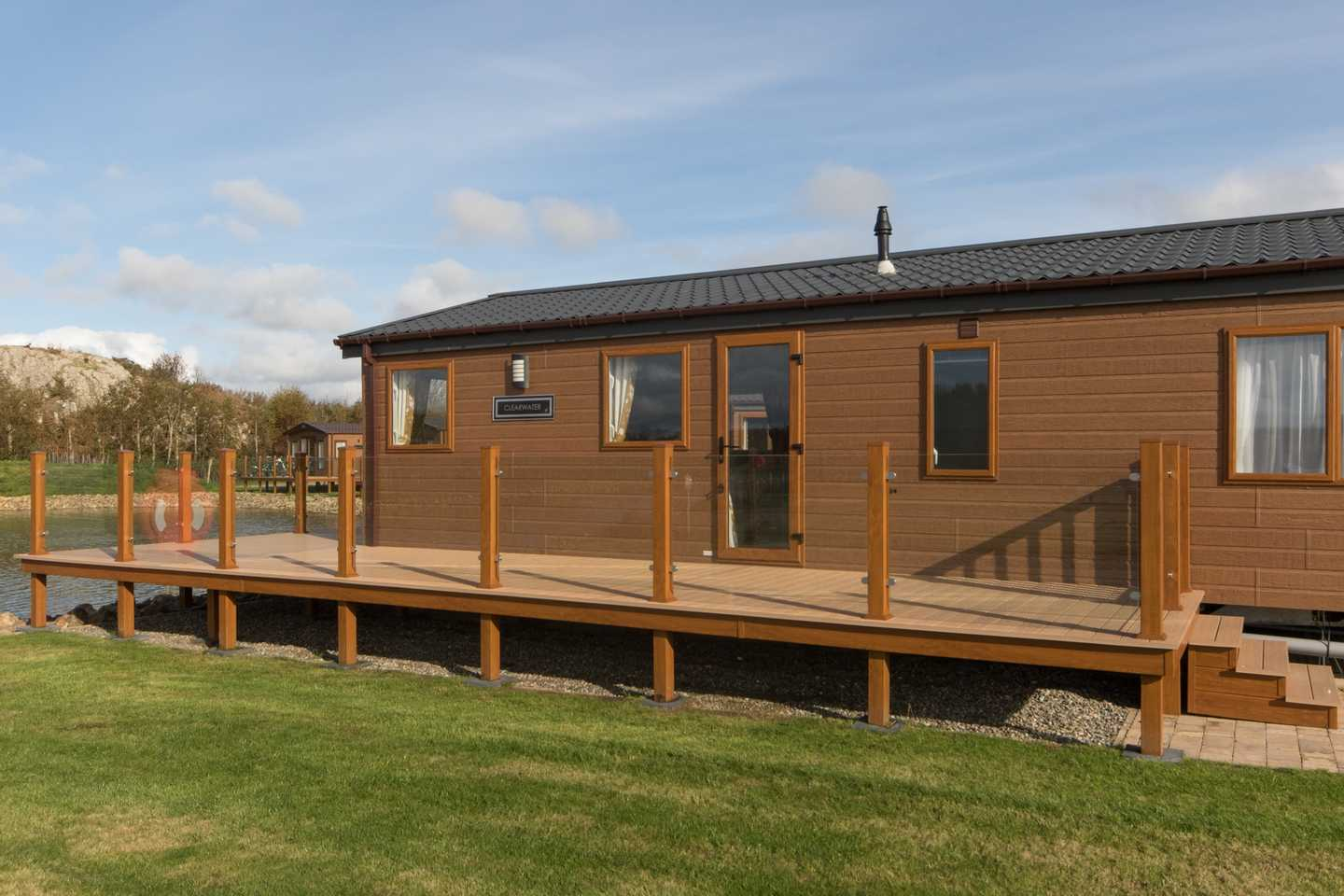 An exterior shot of a Luxury Lodge with veranda