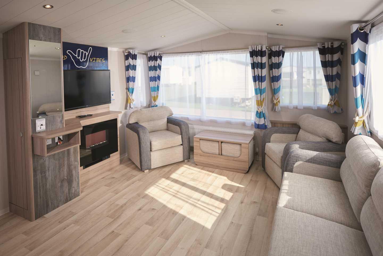 The lounge in a Prestige caravan
