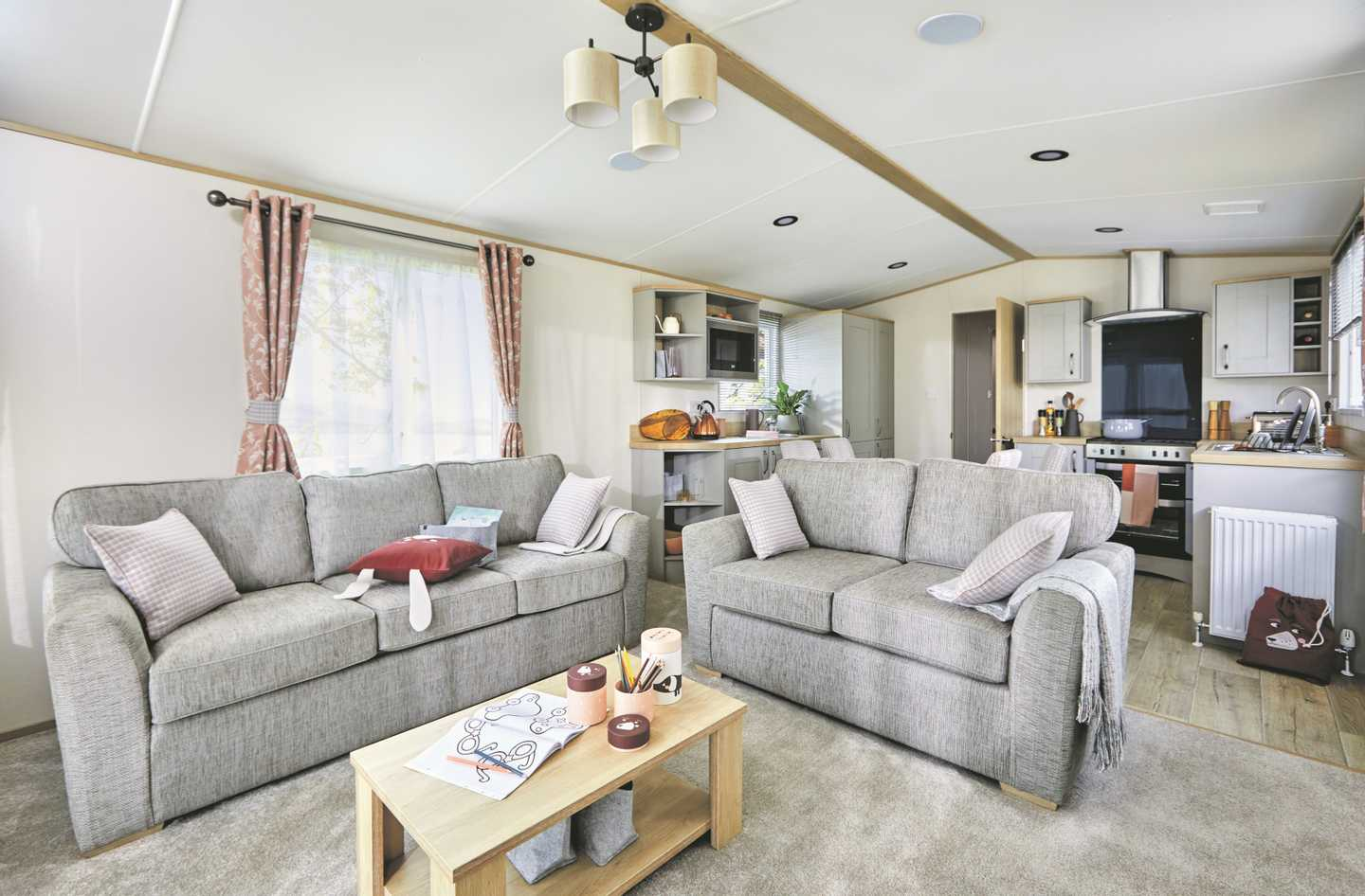 Interior of a luxurious lounge in an Abi Windermere caravan