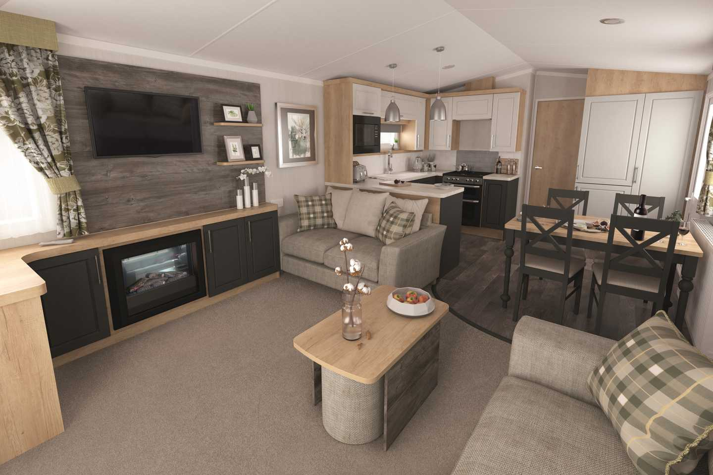The lounge in a Swift Bordeaux Exclusive caravan