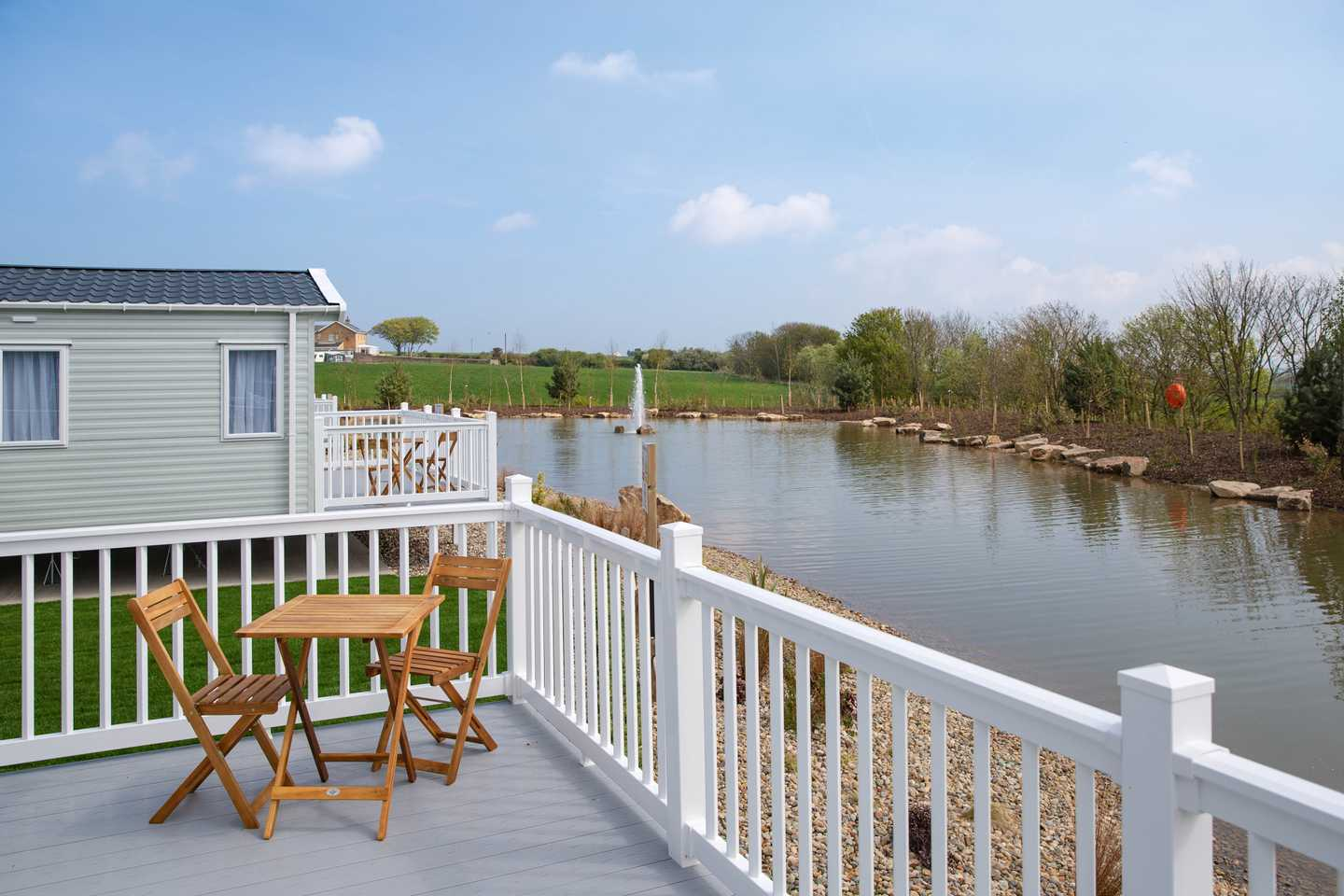 Platinum with decking at Wold Vale, Blue Dolphin