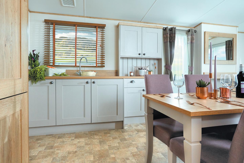 The kitchen in a Platinum caravan