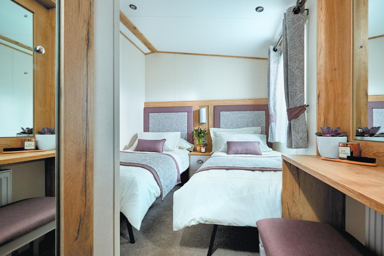 The twin bedroom in a Platinum caravan
