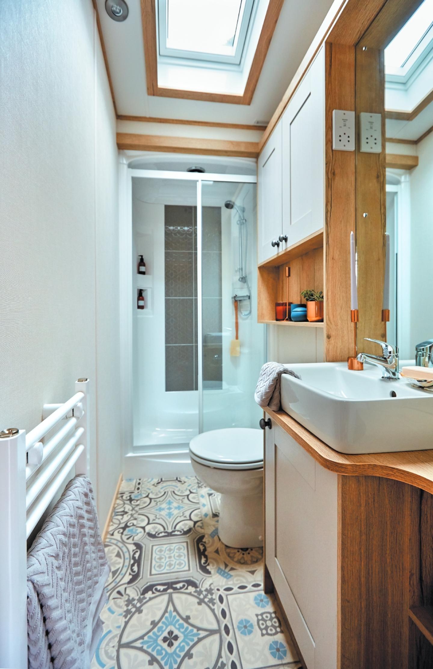 The bathroom in a Platinum caravan