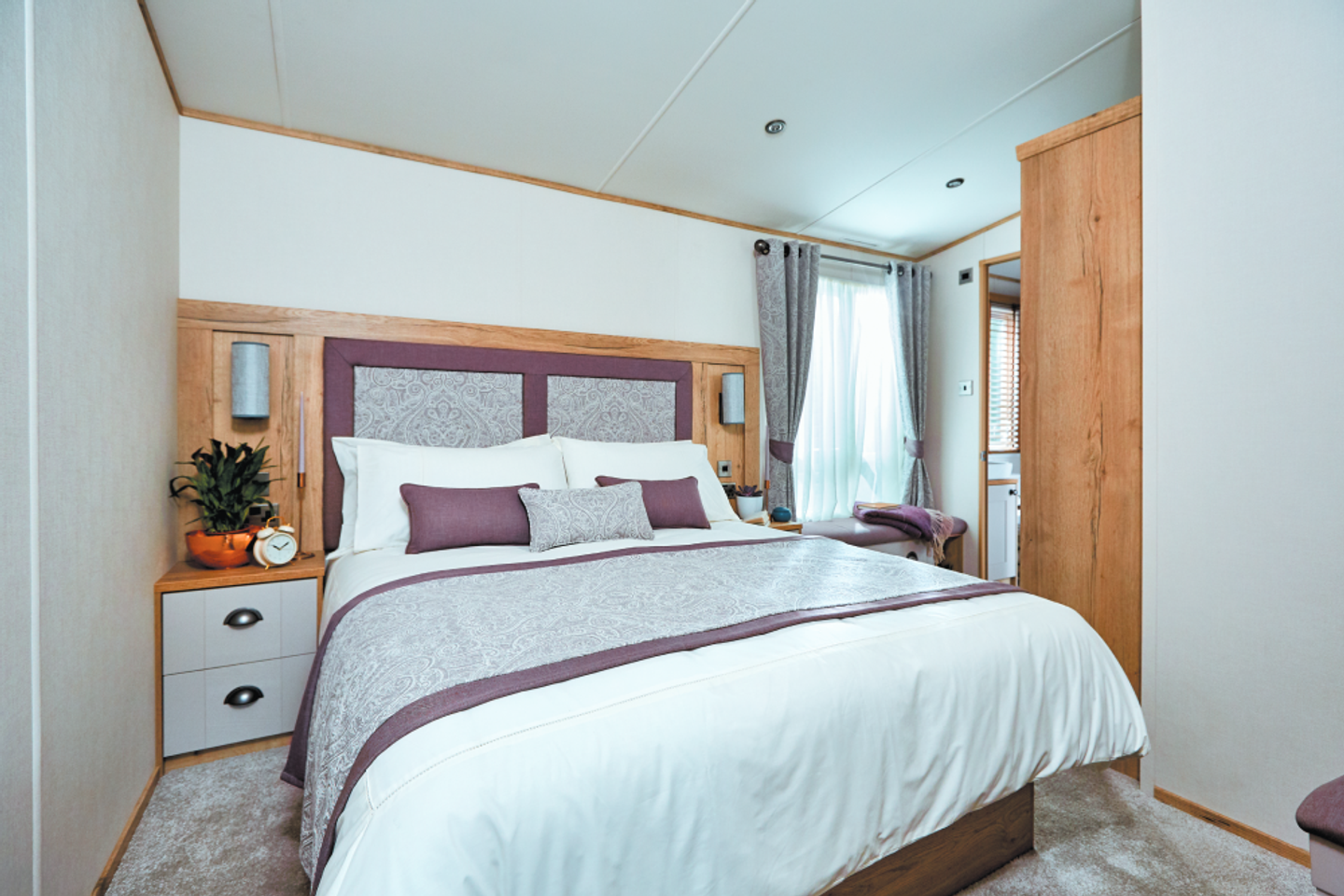 The master bedroom in a Platinum caravan